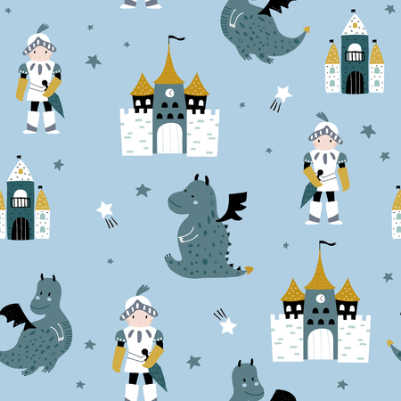 Childish seamless pattern with knight, dragon and castle in scandinavian style. Creative vector childish background for fabric, textile Illustration