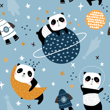Seamless childish pattern with slepping pandas on moons and starry sky. Creative kids texture for fabric, wrapping, textile, wallpaper, apparel. Vector illustration 写真素材 - 117746081