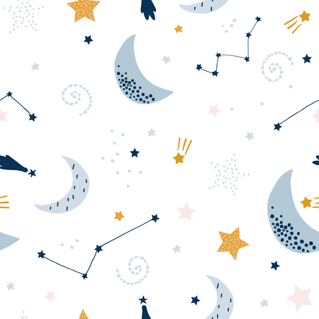 Seamless childish pattern with starry sky, moon. Creative kids texture for fabric, wrapping, textile, wallpaper, apparel. Vector illustration Çizim