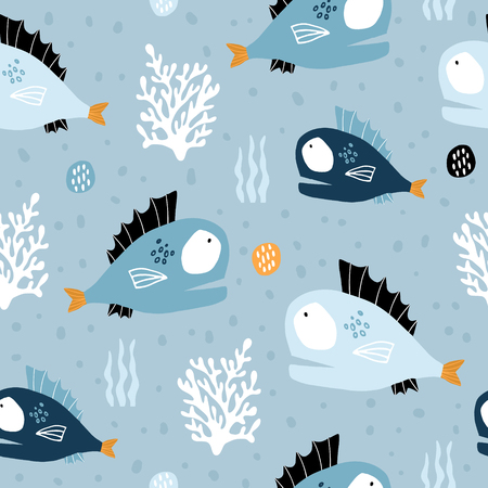 Seamless pattern with creative and colorful fishes and corals. Creative undersea childish texture. Great for fabric, textile Vector Illustration Ilustração