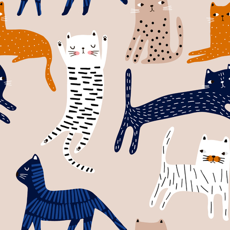 Seamless pattern with cute colorful cats. Creative childish texture. Great for fabric, textile Vector Illustration