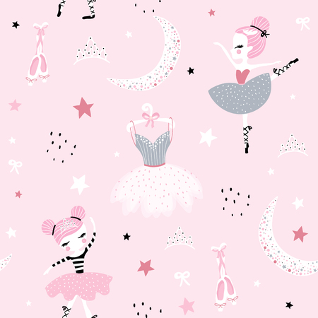 Childish seamless pattern with cute hand drawn ballerina dancing on the moon in scandinavian style. Creative vector childish background for fabric, textile Ilustração
