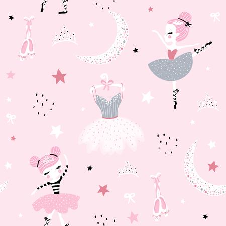 Kindisches nahtloses Muster mit süßer handgezeichneter Ballerina, die im skandinavischen Stil auf dem Mond tanzt. Kreativer Vektor kindischer Hintergrund für Stoff, Textil