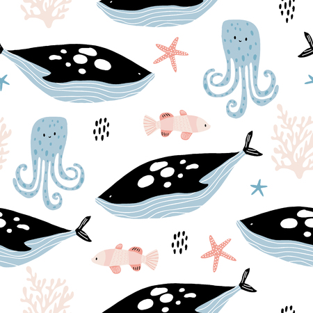 Seamless pattern with creative killer whale, octopus, clown fish. Creative undersea childish texture. Great for fabric, textile Vector Illustration Ilustração
