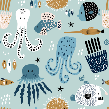 Seamless pattern with creative and colorful fishes, octopus, jellyfish, devil fish,fish hedgehog. Creative undersea childish texture. Great for fabric, textile Vector Illustration Ilustracja