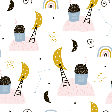 Seamless childish pattern with houses, starry sky, and stairs to the moons. Creative kids texture for fabric, wrapping, textile, wallpaper, apparel. Vector illustration Ilustração