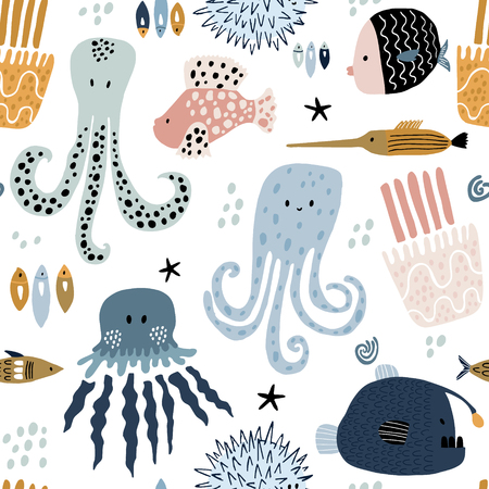 Seamless pattern with creative and colorful fishes, octopus, jellyfish, devil fish,fish hedgehog. Creative undersea childish texture. Great for fabric, textile Vector Illustration Banco de Imagens - 117746089