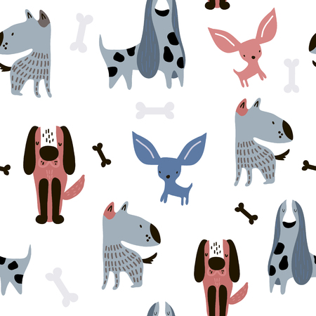 Childish seamless pattern with funny creative dogs. Trendy scandinavian vector background. Perfect for kids apparel,fabric, textile, nursery decoration,wrapping paper Banco de Imagens - 124935854