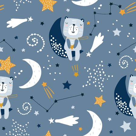 Seamless childish pattern with cute bears on clouds, moon, stars. Creative scandinavian style kids texture for fabric, wrapping, textile, wallpaper, apparel. Vector illustration