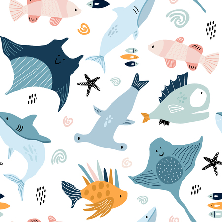 Seamless pattern with creative and colorful fishes . Creative undersea childish texture. Great for fabric, textile Vector Illustration Ilustração