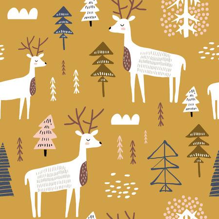 Modèle sans couture enfantin avec dears. Fond de vecteur de vacances scandinaves à la mode. Parfait pour les vêtements pour enfants, le tissu, le textile, la décoration de chambre d'enfant, le papier d'emballage