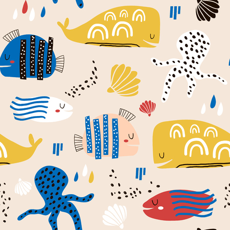 Seamless childish pattern with fish, octopust, whales and hand drawn shapes. Creative under sea kids texture for fabric, wrapping, textile, wallpaper, apparel. Vector illustration Banco de Imagens - 121795088
