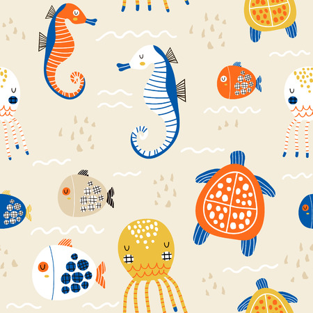 Seamless childish pattern with octopus, sea horse, fish,turtle.Creative under sea summer texture for fabric, wrapping, textile, wallpaper, apparel. Vector illustration Banco de Imagens - 121795089