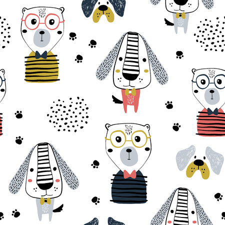 Seamless pattern with funny dogs, bear and hand drawn elements. Creative zoo childish texture. Great for fabric, textile Vector Illustration