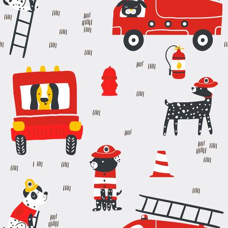 Patrón sin costuras infantil con perros de fuego. Fondo de vector escandinavo de moda. Perfecto para ropa infantil, tela, textil, decoración de guardería, papel de regalo.