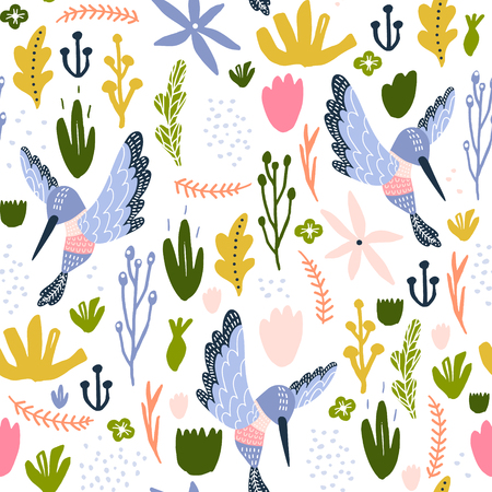 Seamless childish pattern with colorful collibri, flowers, leaf. Creative scandinavian floral texture for fabric, wrapping, textile, wallpaper, apparel. Vector illustration