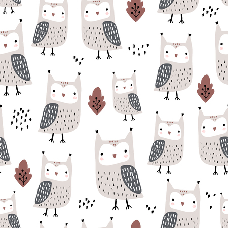 Seamless pattern with owls and leaves. Creative woodland childish texture in autumn colors. Great for fabric, textile Vector Illustration