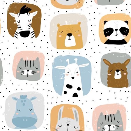 Seamless childish pattern with funny animals portreits . Creative scandinavian kids texture for fabric, wrapping, textile, wallpaper, apparel. Vector illustration Ilustração