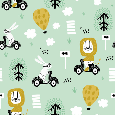 Seamless pattern with bunny and lion riding on scooter. Creative childish texture. Great for fabric, textile Vector Illustration