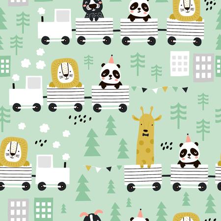 Nahtloses Muster für Kinder mit süßen Tieren, die den Zug im skandinavischen Stil fahren. Kreativer Vektor kindischer Hintergrund für Stoff, Textil Vektorgrafik