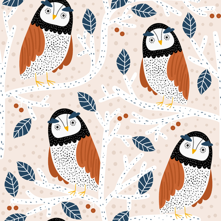 Seamless pattern with owls on trees. Creative woodland childish texture. Great for fabric, textile Vector Illustration