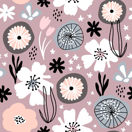 Seamless pattern with flowers,palm branch, leaves. Creative floral texture in pastel colors. Great for fabric, textile Vector Illustration