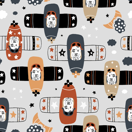 Seamless childish pattern with tigers pilot on planes . Creative hand drawn kids texture for fabric, wrapping, textile, wallpaper, apparel. Vector illustration Banco de Imagens - 123725996