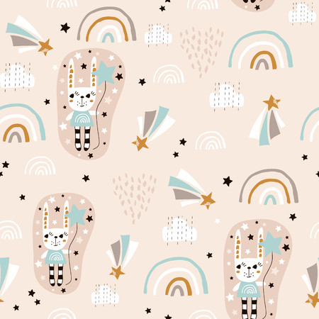 Seamless pattern with cute rabbit girl, rainbow, stars, balloons. Creative childish background. Perfect for kids apparel,fabric, textile, nursery decoration,wrapping paper.Vector Illustration