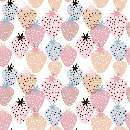 Seamless pattern with creative strawberries. Hand drawn fruits trendy background. Great for fabric and textile. Ilustração