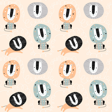 Seamless childish pattern with cute lions. Creative kids texture for fabric, wrapping, textile, wallpaper, apparel. Vector illustration