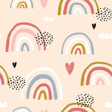 Patrón infantil sin fisuras con arco iris y corazones dibujados a mano. Textura creativa de niños escandinavos para tela, envoltura, textil, papel tapiz, ropa. Ilustración vectorial