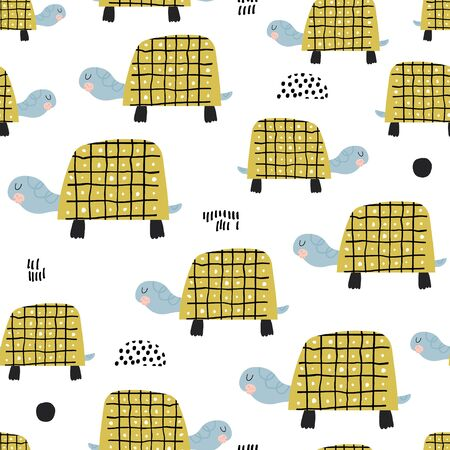 Seamless childish pattern with funny turtles Creative kids texture. Great for fabric, textile Vector Illustration