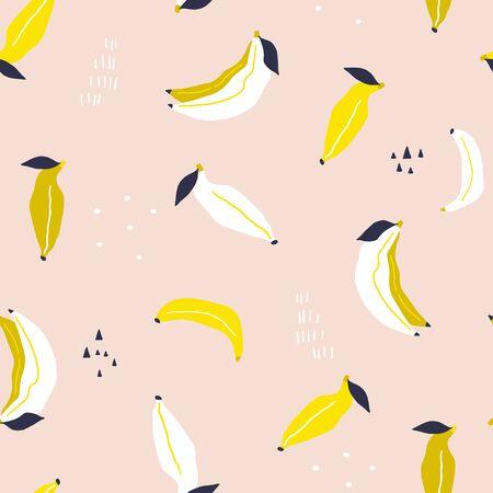 Patrón de plátano sin costuras. Textura creativa de plátano en rosa. Ideal para tela, textil, ilustración vectorial