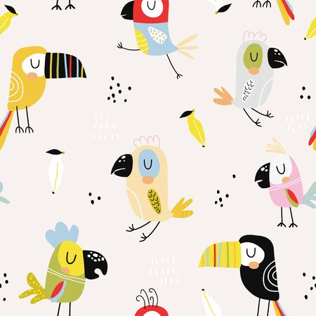 Seamless childish pattern with colorful parrots and toucans. Creative scandinavian style kids texture for fabric, wrapping, textile, wallpaper, apparel. Vector illustration Ilustração