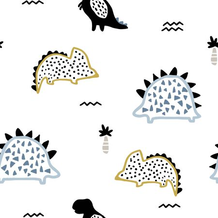 Childish seamless pattern with ink drawn dino, palm trees and abstract textures in scandinavian style. Creative vector childish background for fabric, textile