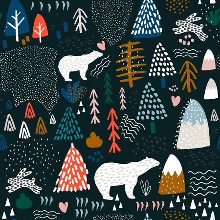 Nahtloses Muster mit Häschen, Eisbären, Waldelementen und handgezeichneten Formen. Kindliche Textur. Ideal für Stoff, Textil-Vektor-Illustration