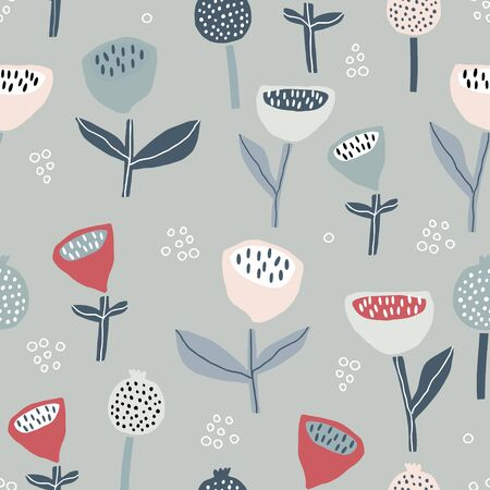 Seamless pattern with flowers inscandinavian style. Creative floral pastel texture. Great for fabric, textile Vector Illustration Banco de Imagens - 125601433
