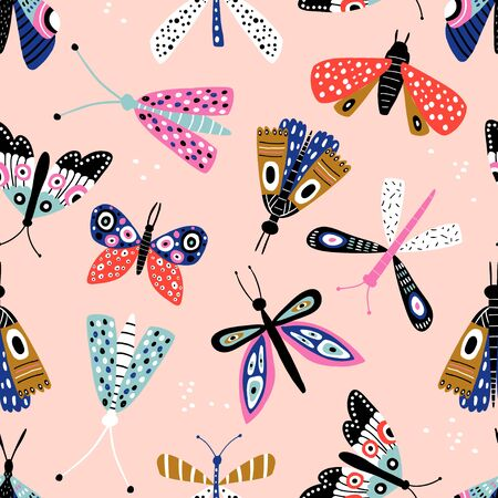 Seamless pattern with colorful butterflies and mothes. Creative for fabric, wrapping, textile, wallpaper, apparel. Vector illustration Banco de Imagens - 125601435