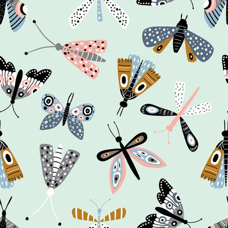 Seamless pattern with colorful butterflies and mothes. Creative mint texture for fabric, wrapping, textile, wallpaper, apparel. Vector illustration
