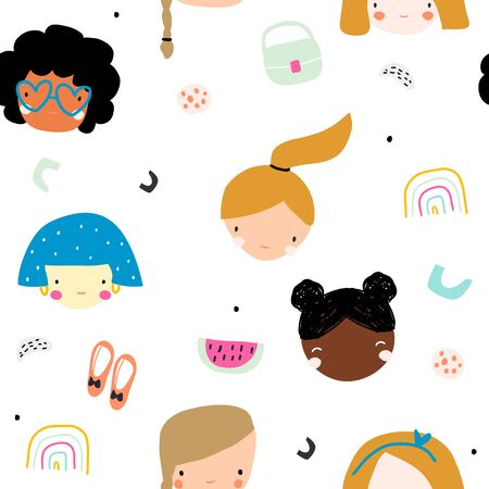 Seamless childish with beautiful faces of girls in a simple style. Creative childrens textures for fabrics, packaging, textiles, wallpaper, clothing. Vector illustration Ilustração