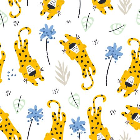 Seamless pattern with cute leopards and tropical leaves. Creative childish texture. Great for fabric, textile Vector Illustration
