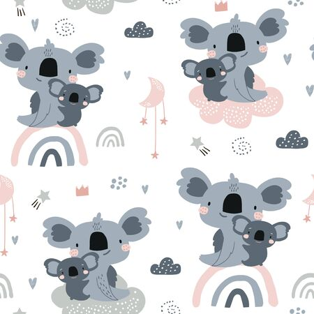 Seamless pattern with cute koala momm with baby on rainbows. Creative childish background. Perfect for kids apparel,fabric, textile, nursery decoration,wrapping paper.Vector Illustration
