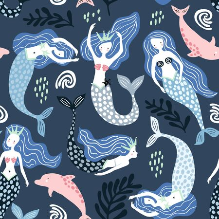 Seamless pattern with creative mermaids with dolphins . Creative undersea childish texture. Great for fabric, textile Vector Illustration Banco de Imagens - 125601453