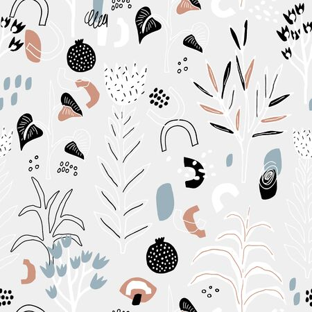 Seamless pattern with flowers, leaves and abstarct sheps. Creative floral modern texture. Great for fabric, textile Vector Illustration
