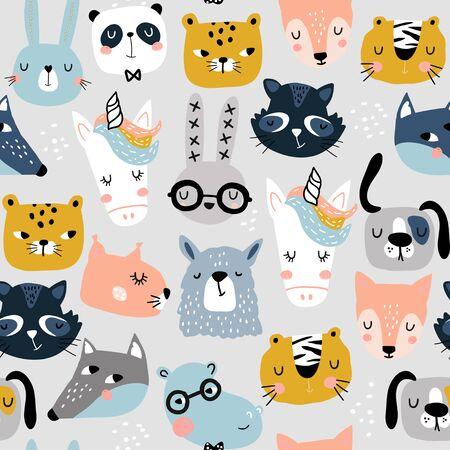 Dziecinny wzór z śmieszne twarze zwierząt. Tekstura kreatywnych skandynawskich dzieci do tkanin, opakowań, tekstyliów, tapet, odzieży. Ilustracja wektorowa