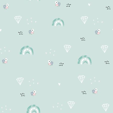 Seamless minimalistic pattern with rainbows, diamonds, flowers. Creative childish background. Perfect for kids apparel,fabric, textile, nursery decoration,wrapping paper.Vector Illustration