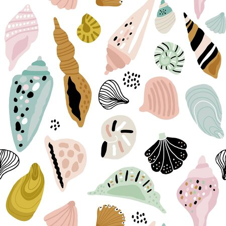 Seamless pattern with colorful creative seashells. Creative marine texture. Great for fabric, textile Vector Illustration Stock Illustratie