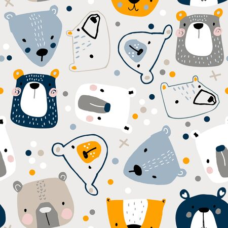 Seamless childish pattern with cute bear faces Creative kids hand drawn texture for fabric, wrapping, textile, wallpaper, apparel. Vector illustration Çizim