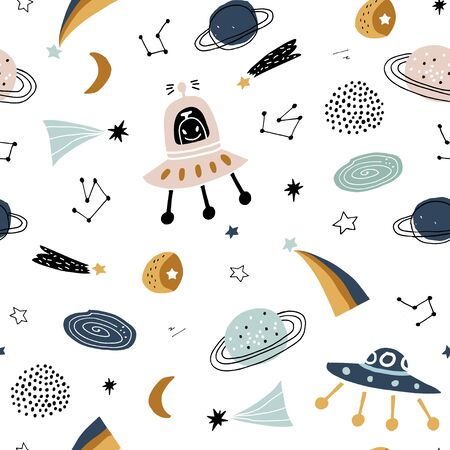 Childish seamless pattern with aliens, ufo in cosmos. Trendy scandinavian vector background. Perfect for kids apparel,fabric, textile, nursery decoration,wrapping paper