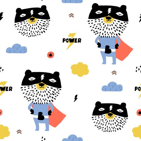 Seamless pattern with hand drawn bear super hero. Creative childish texture in scandinavian style. Great for fabric, textile Vector Illustration Stock Illustratie